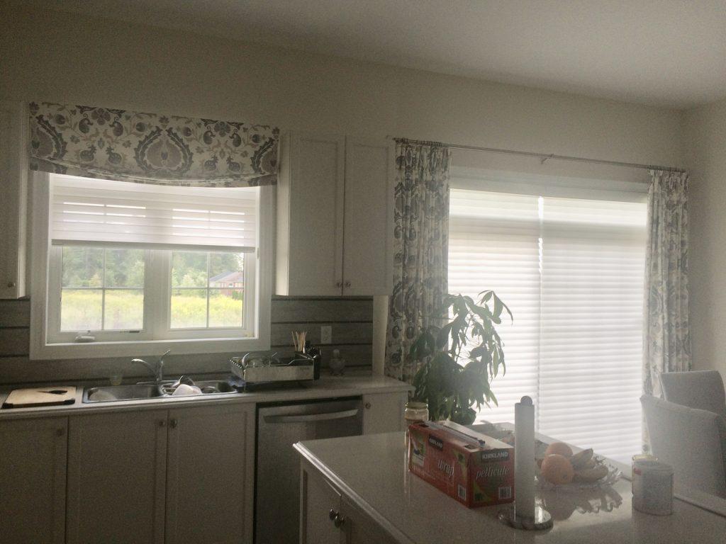 Relaxed Roman Shade Kitchen Window matching drapery