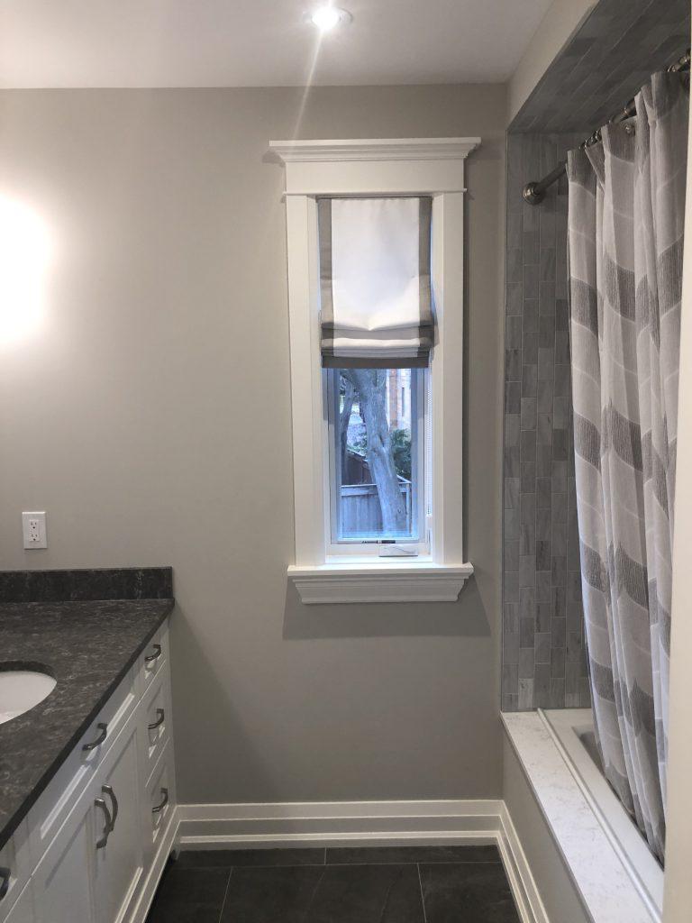 Roman Shade - Banded Bathroom Window