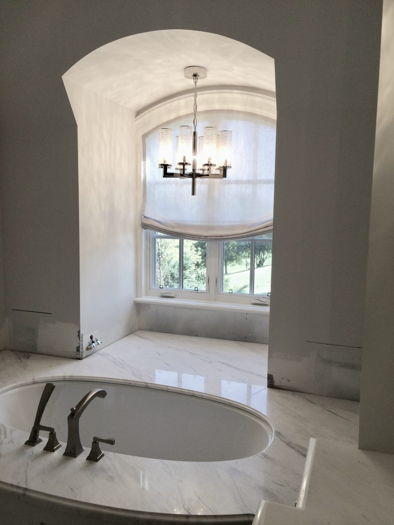 Roman Shade Relaxed Curved Master Bathroom